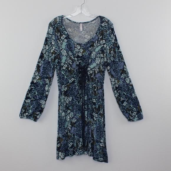 Xhilaration Dresses & Skirts - Xhilaration Fits Flare Laced Front Floral Dress XL